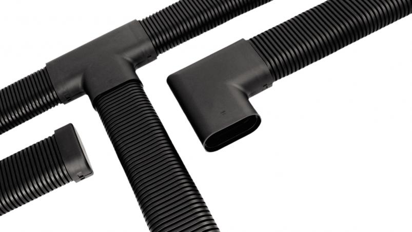COOR-flex end caps, Tee connectors, 90° elbow connectors and couplings