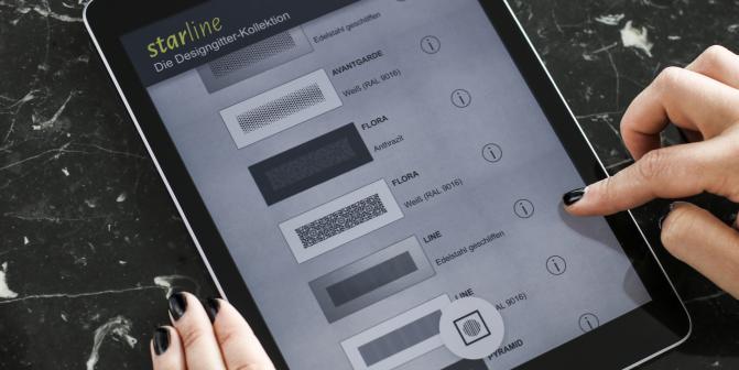 Design Lüftungsgitter wählen via App