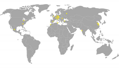 World map with all production and sales locations of FRÄNKISCHE