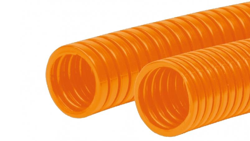 FPAN-O - Corrugated conduit in orange colour for cable protection applications, PA6 MOD orange
