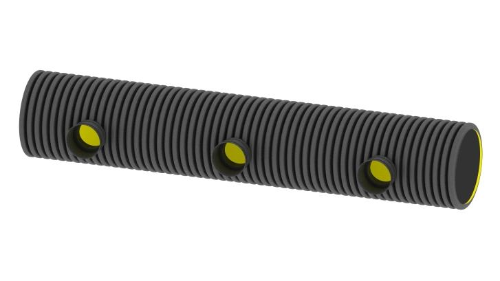 Distribution pipe 3-fold open on one side